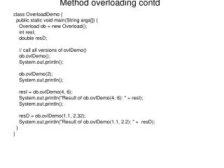 Method overloading contd