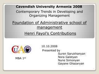 Foundation of Administrative school of management