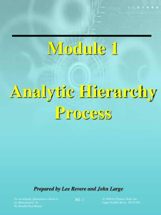 Module 1 Analytic Hierarchy Process