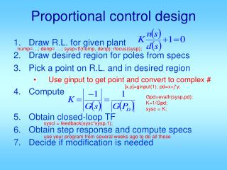 Proportional control design
