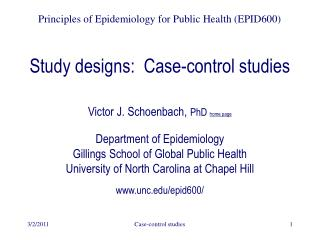 Study designs:  Case-control studies