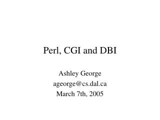 Perl, CGI and DBI