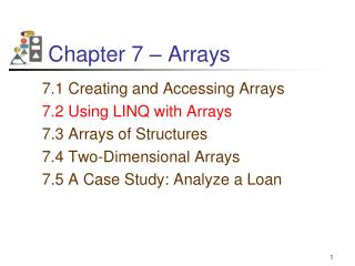 Chapter 7 – Arrays