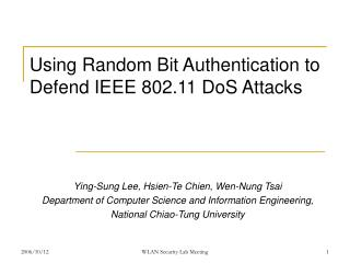 Using Random Bit Authentication to Defend IEEE 802.11 DoS Attacks