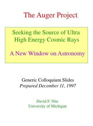 The Auger Project
