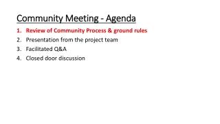 Community Meeting - Agenda