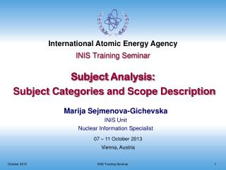 INIS Training Seminar Subject  Analysis: Subject Categories and Scope  Description
