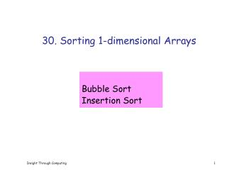 30. Sorting 1-dimensional Arrays
