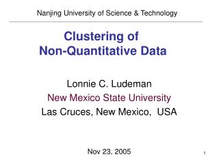 Clustering of   Non-Quantitative Data