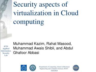 Security aspects of virtualization in Cloud computing