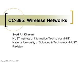 CC-885: Wireless Networks