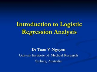 Introduction to Logistic Regression Analysis