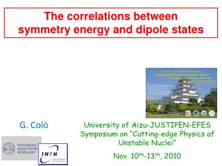 The correlations between        symmetry energy and dipole states