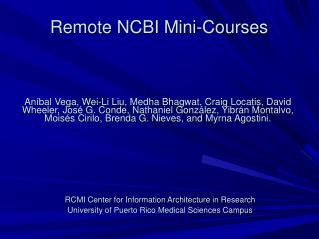Remote NCBI Mini-Courses