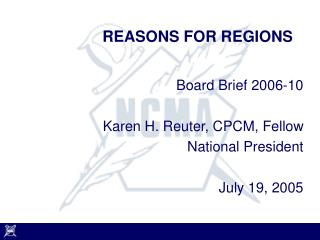 REASONS FOR REGIONS