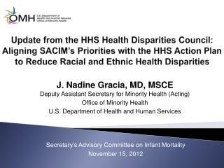 J. Nadine Gracia, MD, MSCE Deputy Assistant Secretary for Minority Health (Acting)