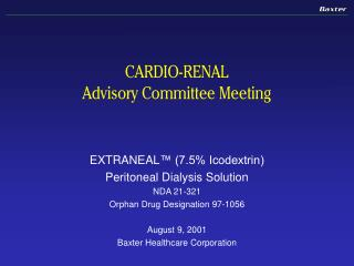 CARDIO-RENAL Advisory Committee Meeting