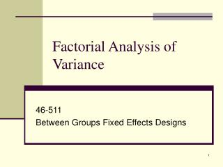 Factorial Analysis of Variance