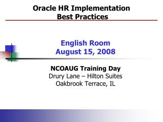 Oracle HR Implementation  Best Practices