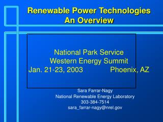 Renewable Power Technologies An Overview