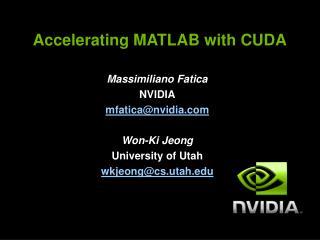 Accelerating MATLAB with CUDA