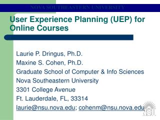 User Experience Planning (UEP) for Online Courses