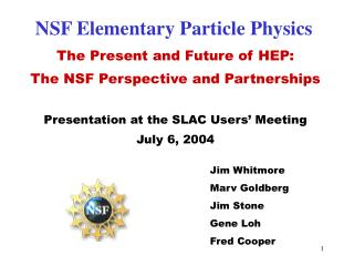 NSF Elementary Particle Physics