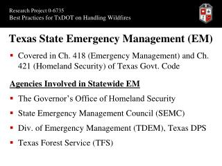 Texas State Emergency Management (EM)