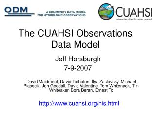 The CUAHSI Observations Data Model