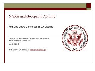 NARA and Geospatial Activity