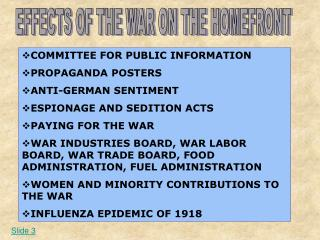 EFFECTS OF THE WAR ON THE HOMEFRONT