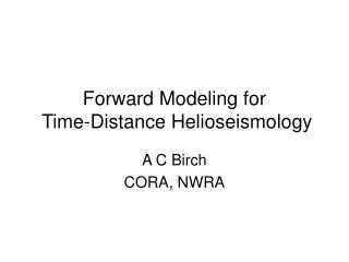 Forward Modeling for  Time-Distance Helioseismology