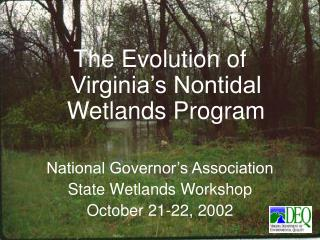 The Evolution of Virginia's Nontidal Wetlands Program  National Governor's Association