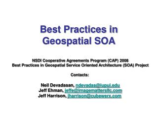 Best Practices in  Geospatial SOA
