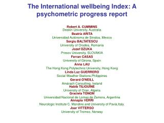 The International wellbeing Index: A psychometric progress report
