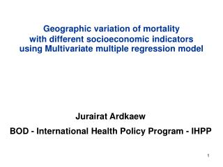 Geographic variation of mortality  with different socioeconomic indicators