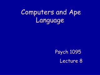 Computers and Ape Language