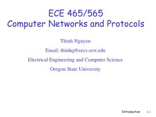 ECE 465/565 Computer Networks and Protocols