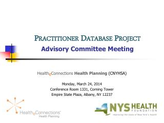 Practitioner Database  Project Advisory Committee Meeting