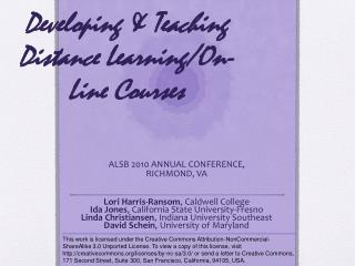 Developing & Teaching Distance Learning/On-Line Courses