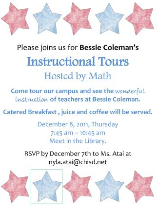 Instructional Tours Hosted by Math