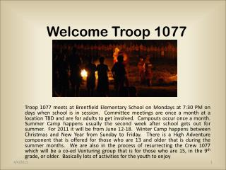 Welcome Troop 1077