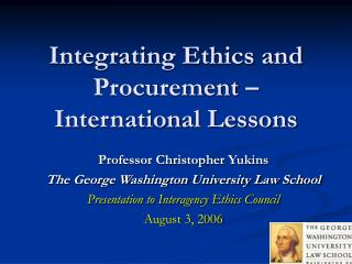 Integrating Ethics and Procurement – International Lessons