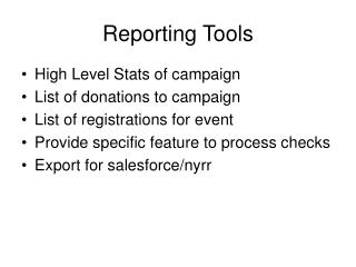 Reporting Tools