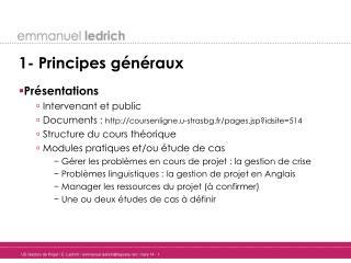 1- Principes généraux