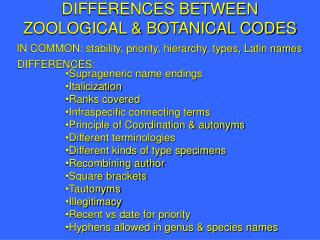DIFFERENCES BETWEEN ZOOLOGICAL & BOTANICAL CODES