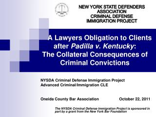 NYSDA Criminal Defense Immigration Project Advanced Criminal/Immigration CLE