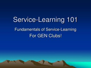 Service-Learning 101
