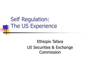 Self Regulation:  The US Experience