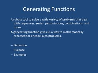 Generating Functions